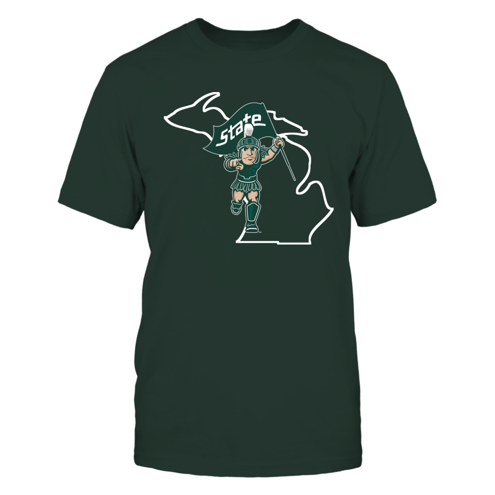 SPARTY IN STATE OUTLINE - MICHIGAN STATE SPARTANS Front picture