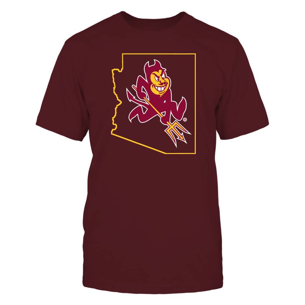 SPARKY IN STATE OUTLINE - ARIZONA STATE SUN DEVILS Front picture