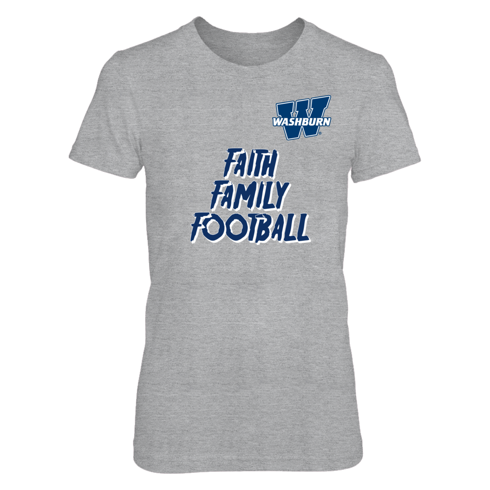 University of Washburn Faith Family Football Tshirt Front picture