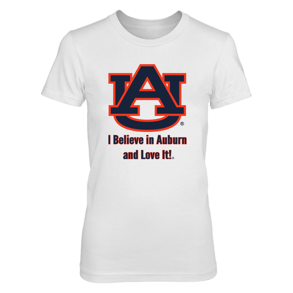 I Believe in Auburn and Love It! T Shirt Front picture