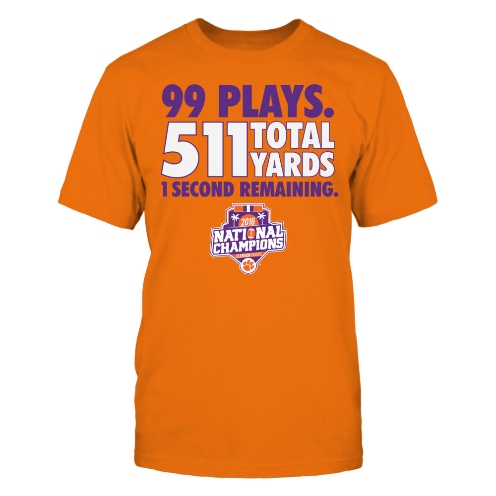 Clemson Tigers - Game Stats 99 Plays 511 Total Yards (2016 Champions) Front picture
