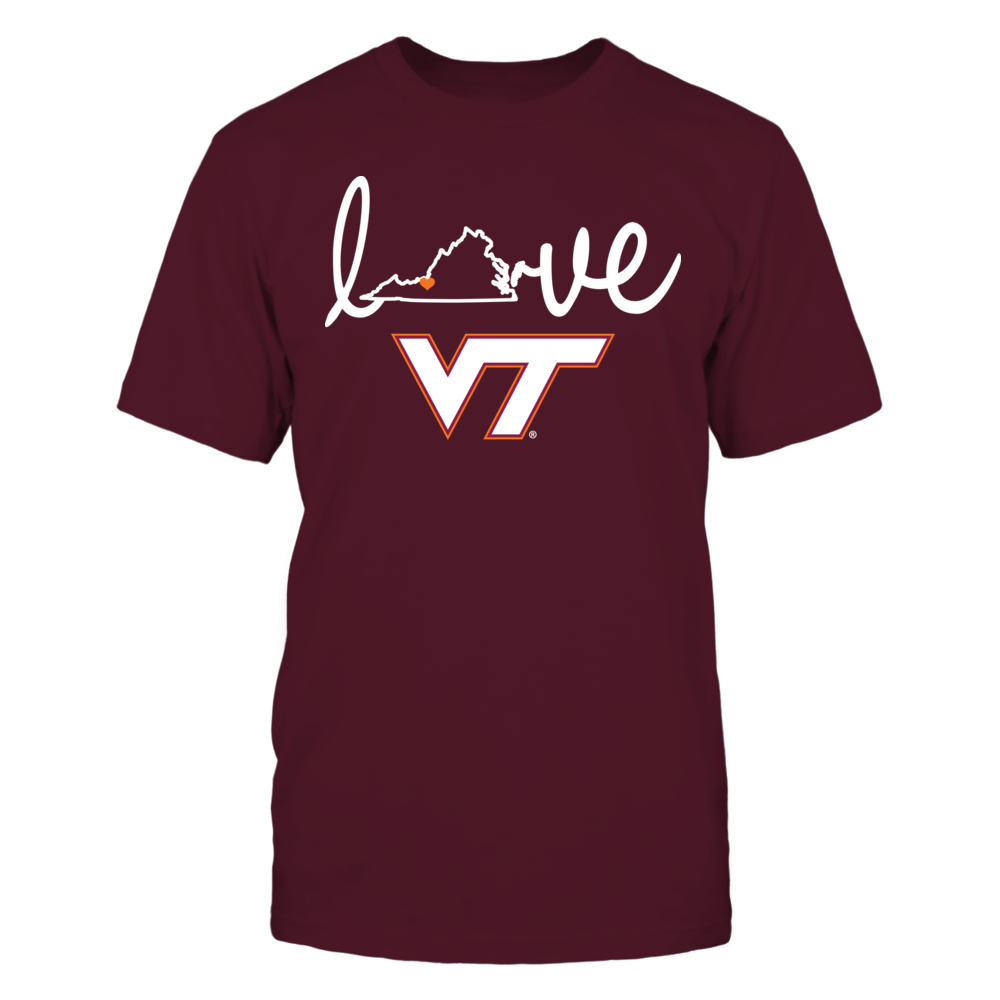 Love With State Outline - Virginia Tech Hokies Front picture