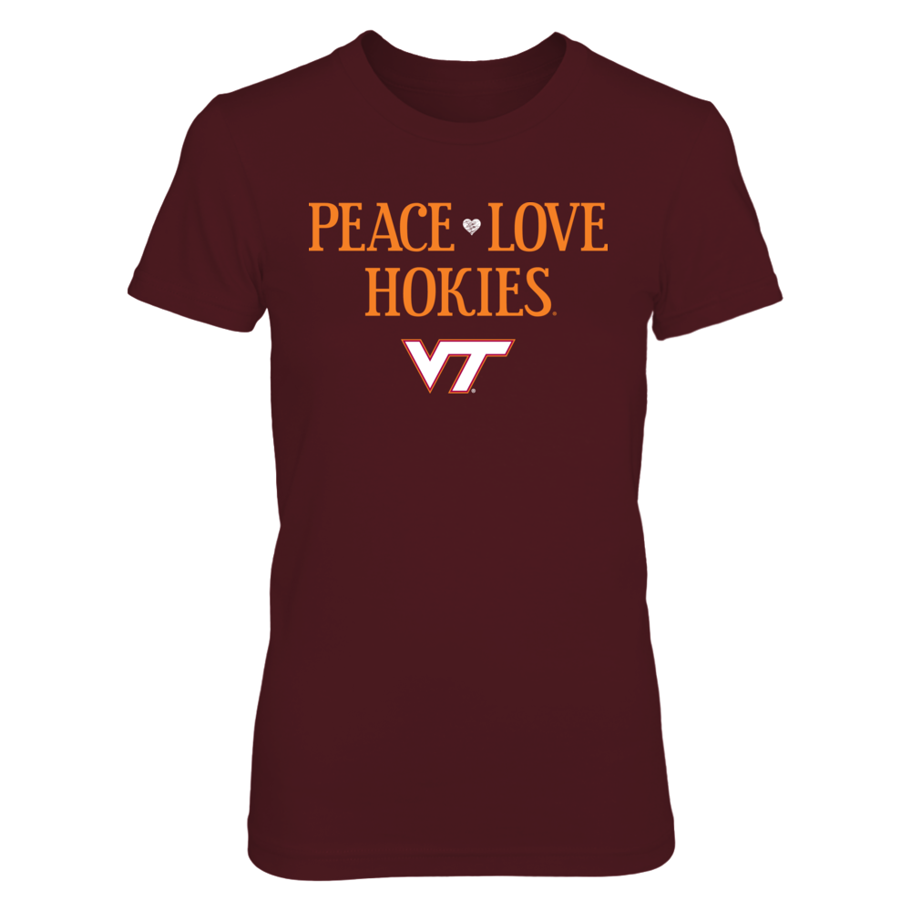 Peace Love Hokies - Officially Licensed VT Virginia Tech T-Shirt / Hoodie / Tank Front picture