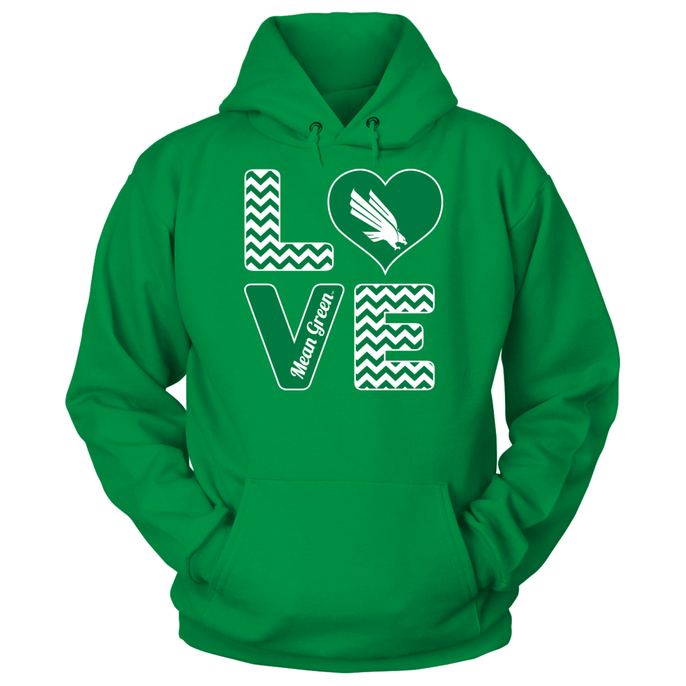 North Texas Mean Green Stacked Love - North Texas Mean Green FanPrint