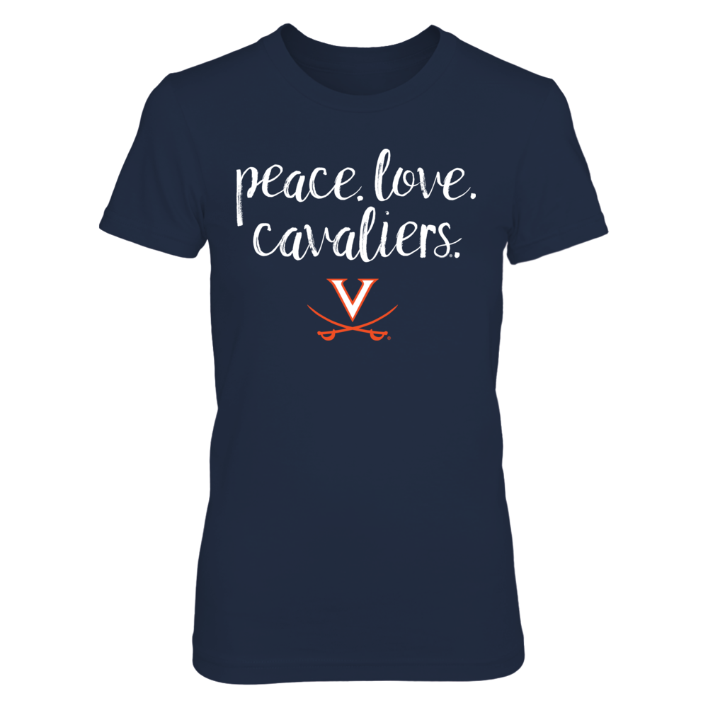 Peace. Love. Cavaliers. - Officially Licensed UVA University of Virginia T-Shirt Front picture