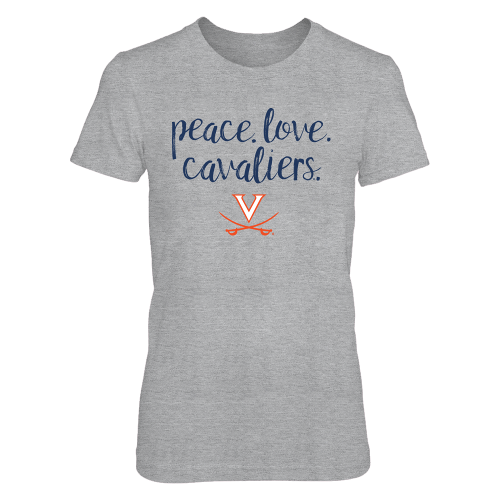 Peace. Love. Cavaliers. - Officially Licensed University of Virginia Cavaliers T-Shirt/Hoodie Front picture