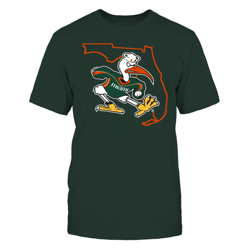 SEBASTIAN IN STATE OUTLINE - MIAMI HURRICANES Front picture