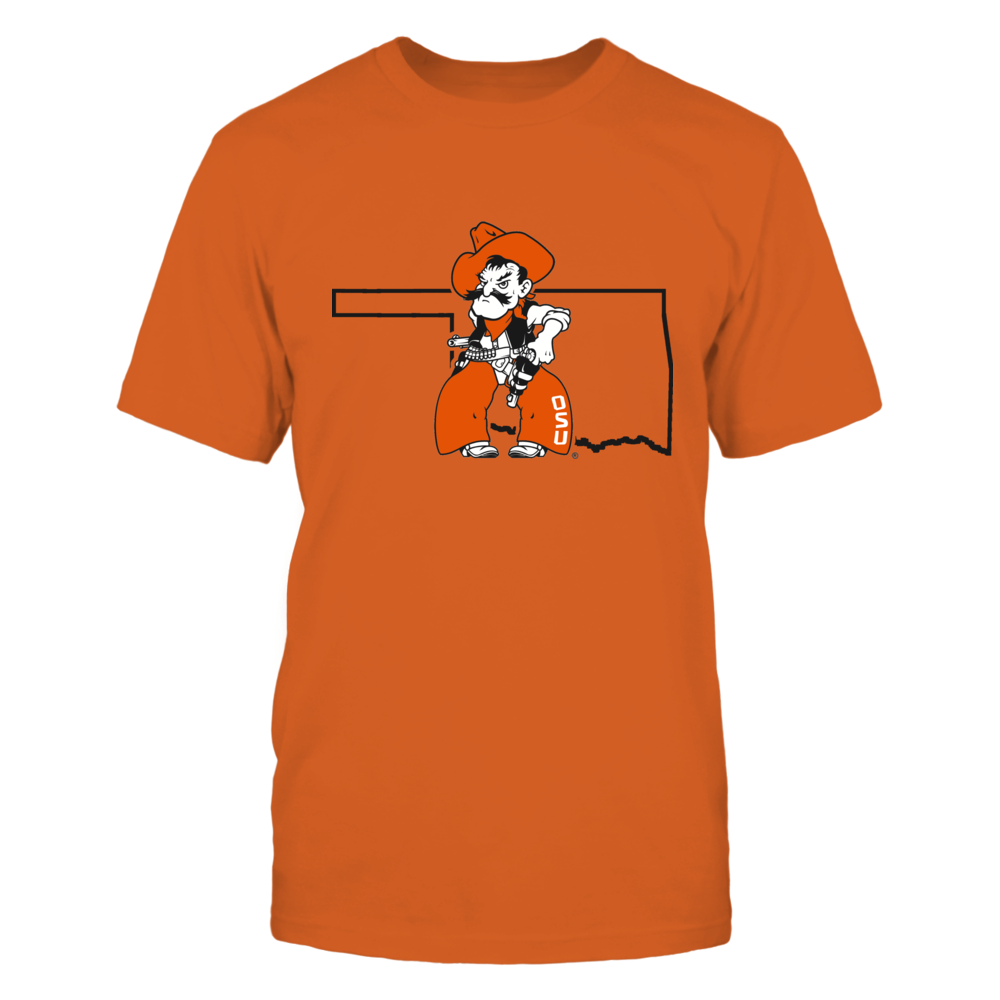 PISTOL PETE IN STATE OUTLINE - OKLAHOMA STATE COWBOYS Front picture