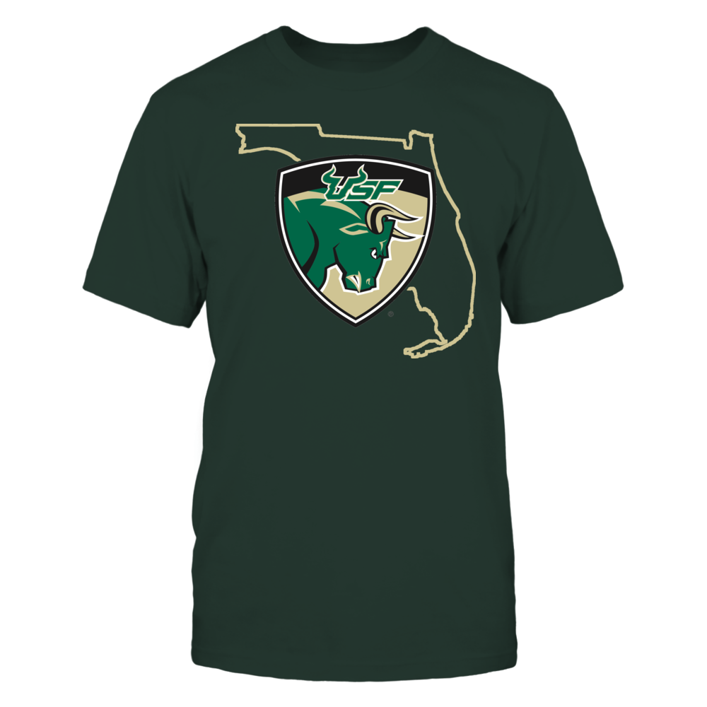 SHIELD IN STATE OUTLINE - USF BULLS Front picture
