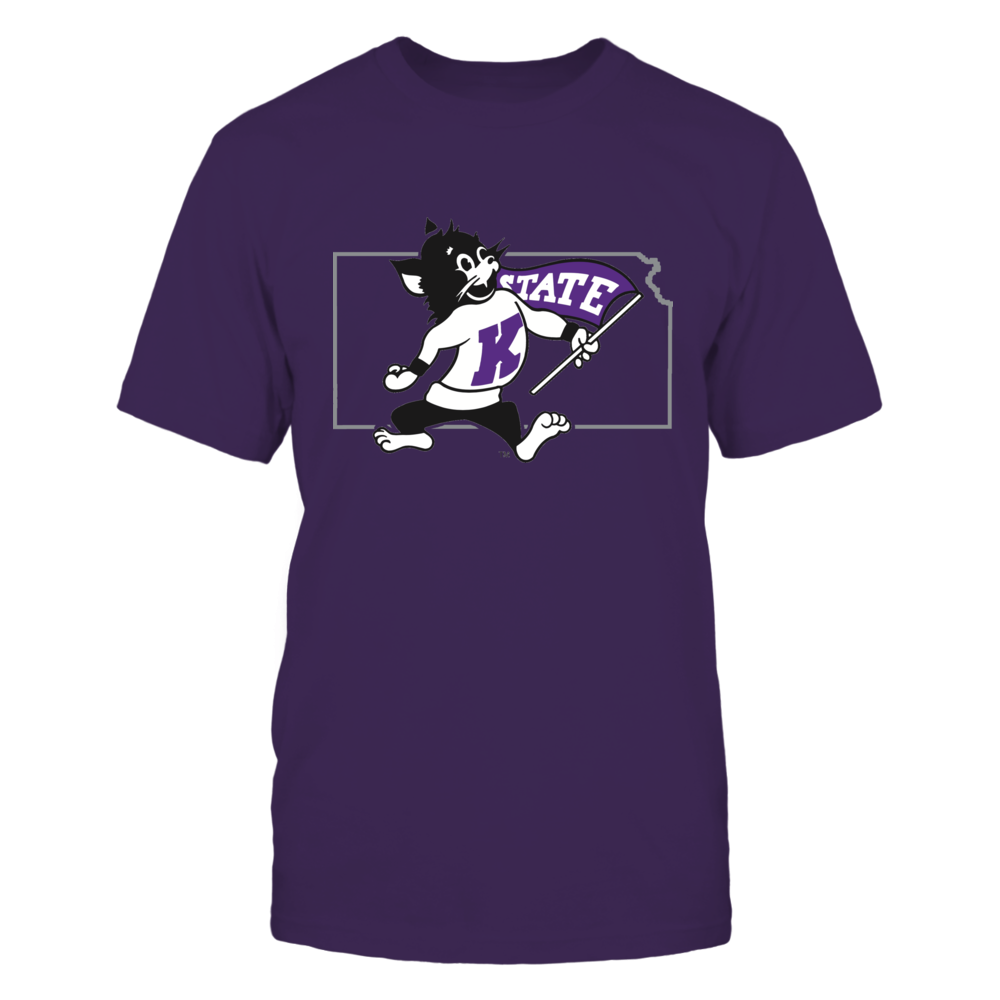 WILLIE THE WILDCAT IN STATE OUTLINE - KANSAS STATE WILDCATS Front picture