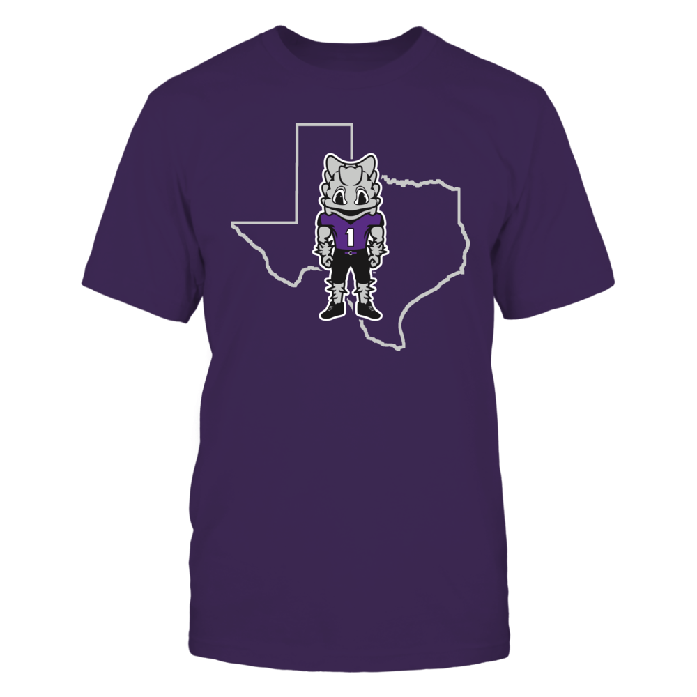 TCU Horned Frogs SUPERFROG IN STATE OUTLINE - TCU HORNED FROGS FanPrint