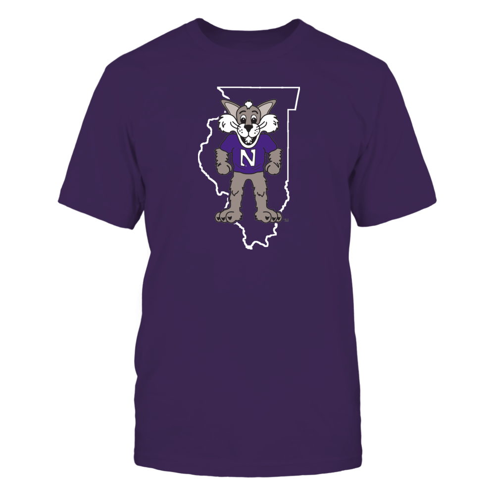 WILLIE IN STATE OUTLINE - NORTHWESTERN WILDCATS Front picture