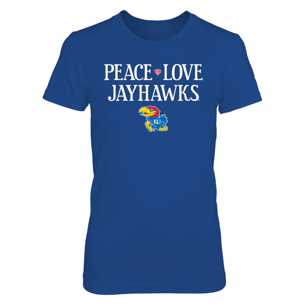 Peace Love Jayhawks - Officially Licensed Kansas University T-Shirt / Hoodie / Tank Front picture