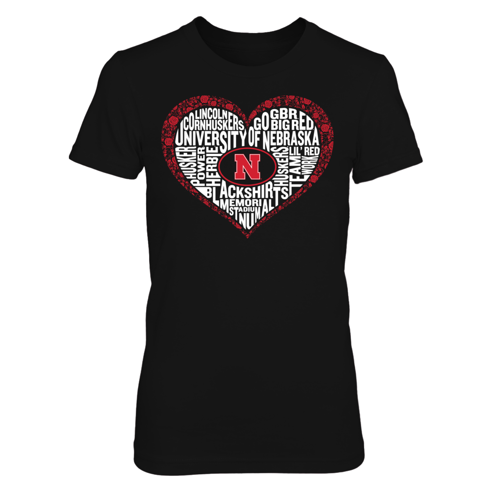 Word Cloud Lace Heart - Nebraska Cornhuskers Front picture