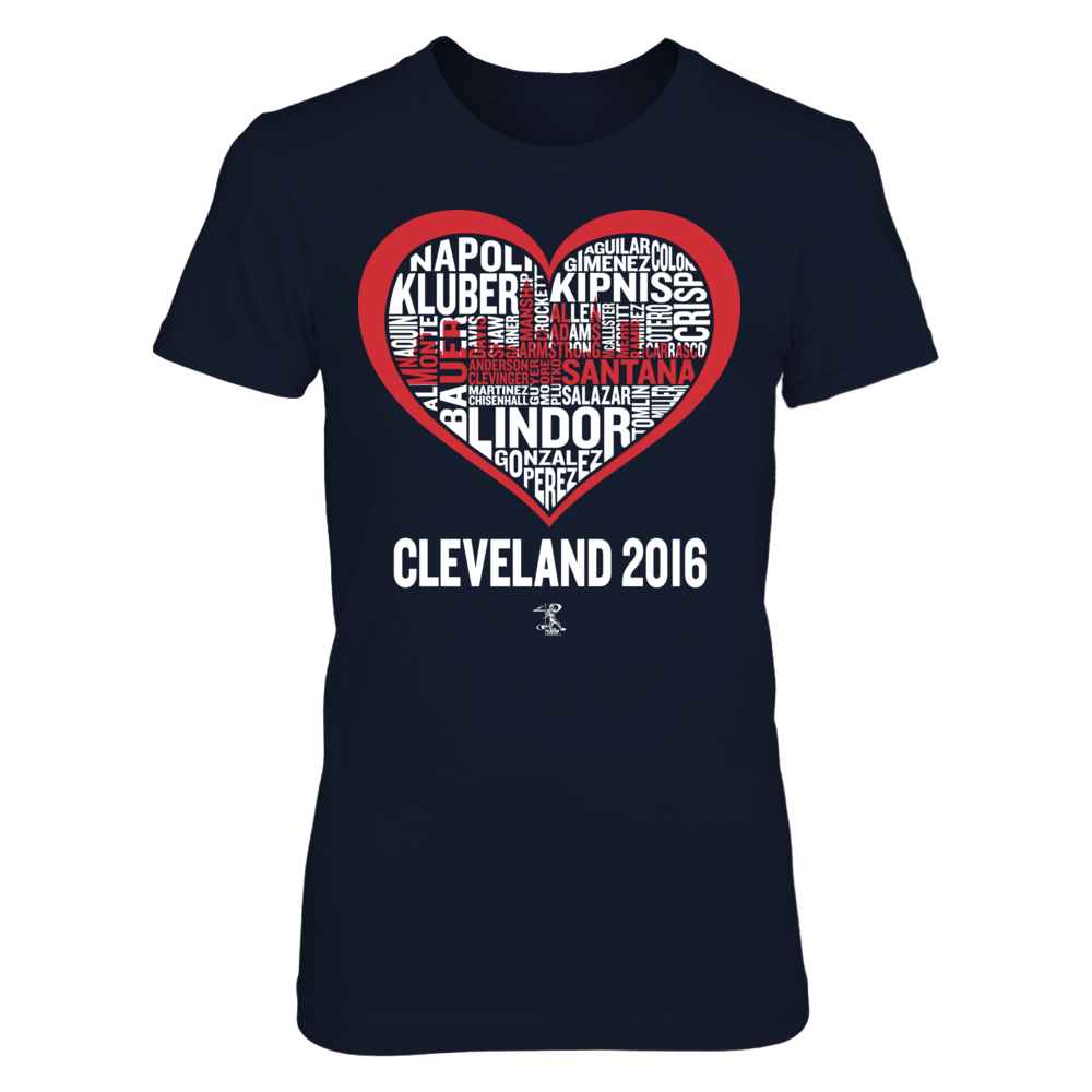 Francisco Lindor Cleveland 2016 Skyline Word Heart - Francisco Lindor FanPrint