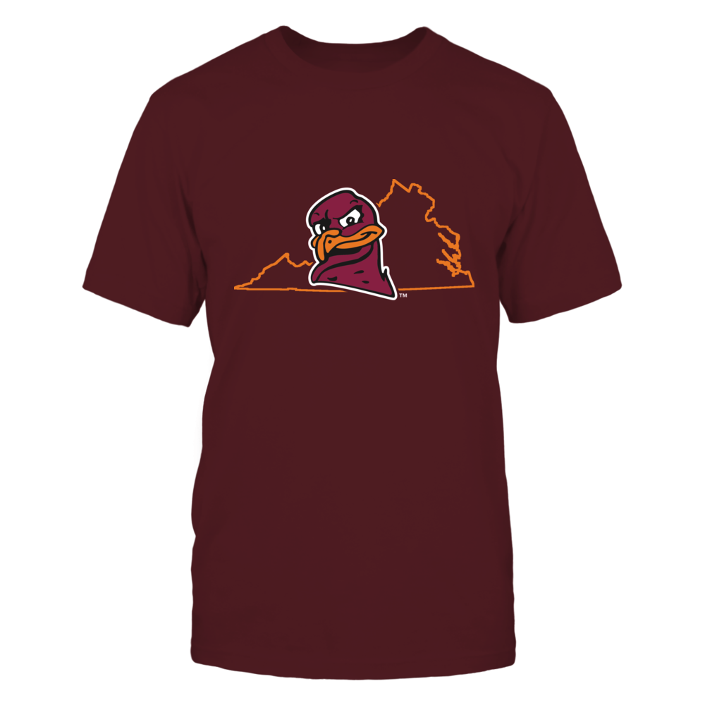 Virginia Tech Hokies HOKIEBIRD IN STATE OUTLINE - VIRGINIA TECH HOKIES FanPrint