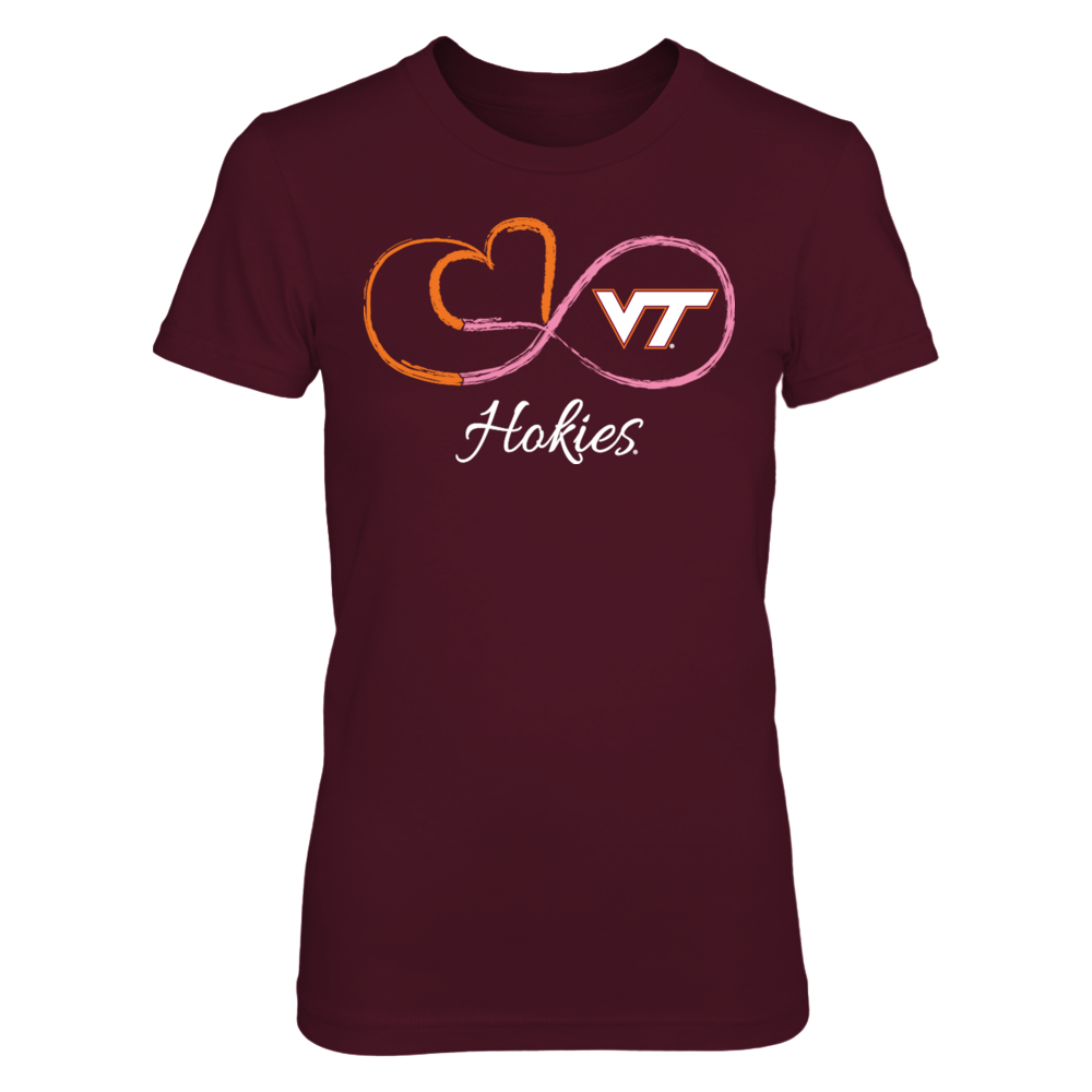 Virginia Tech Hokies Infinite Heart Pink Ribbon - Virginia Tech Hokies FanPrint