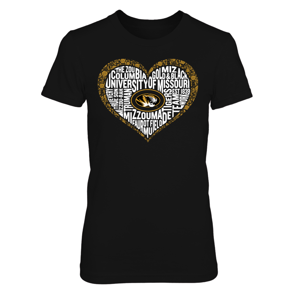 Word Cloud Lace Heart - Mizzou Tigers Front picture