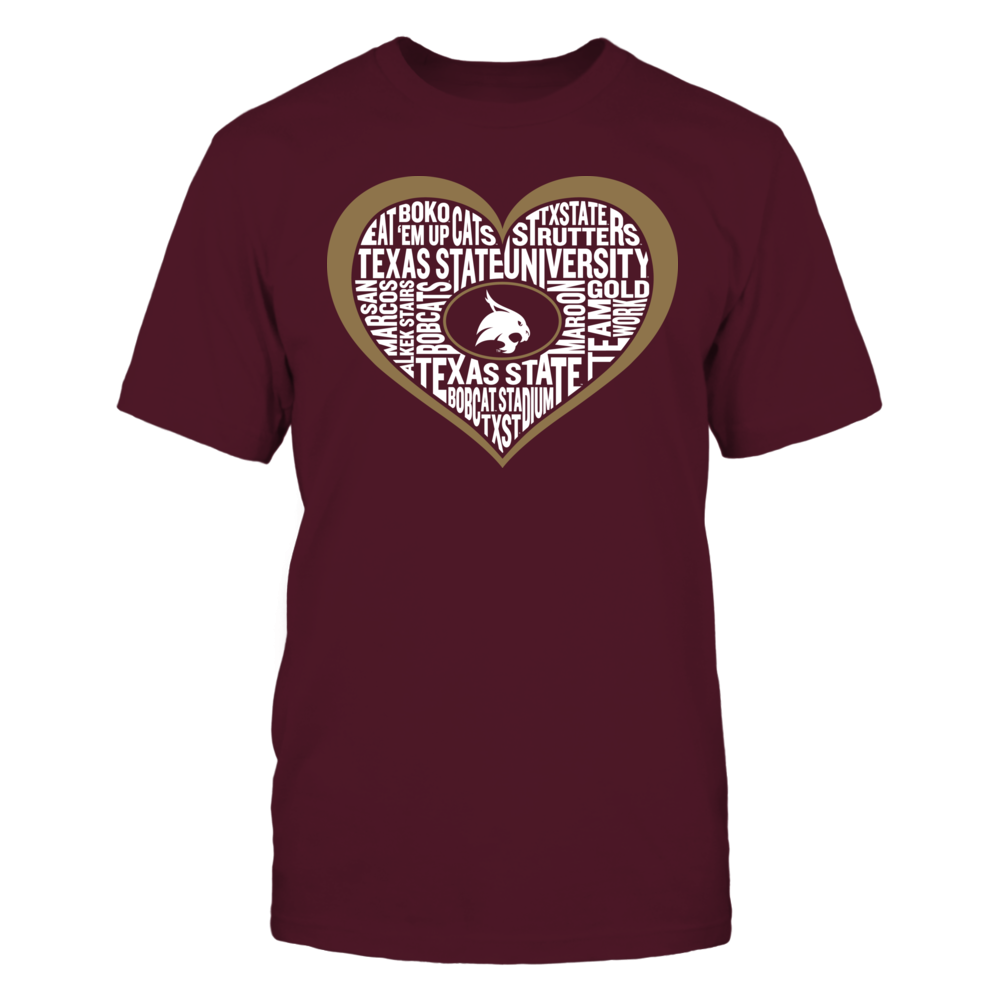 Word Cloud Heart - Texas State Bobcats Front picture