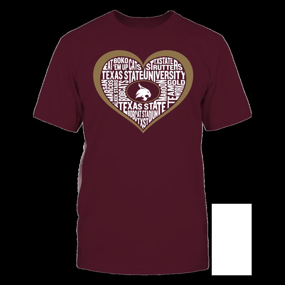 Texas State Bobcats Word Cloud Heart - Texas State Bobcats FanPrint