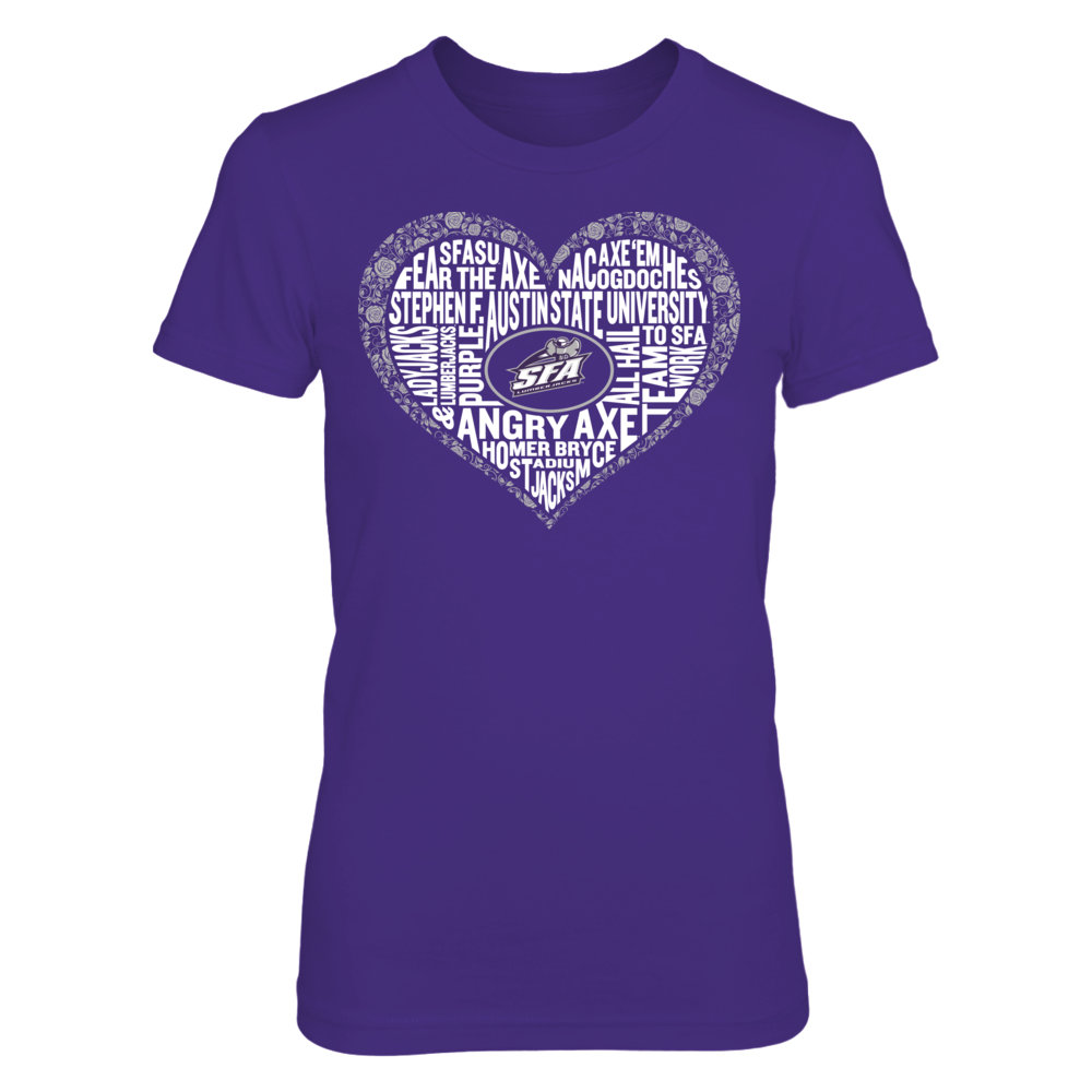 Word Cloud Lace Heart - Stephen F. Austin Lumberjacks Front picture