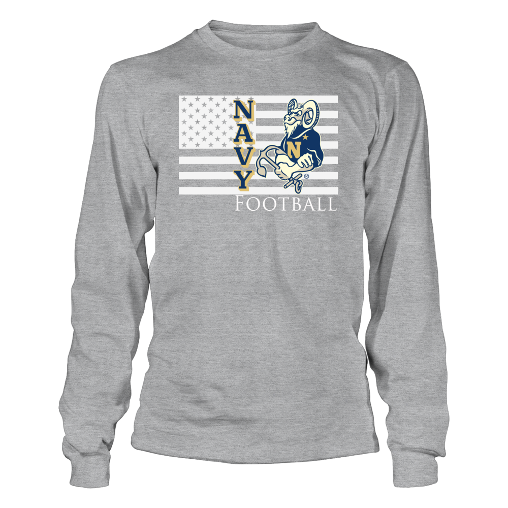 Navy Football Clothing - Mascot and American Flag Front picture