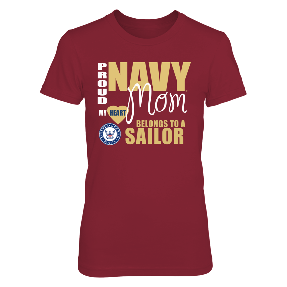 Navy Mom t-Shirts and Apparel - My Heart Belongs to a Sailor Front picture