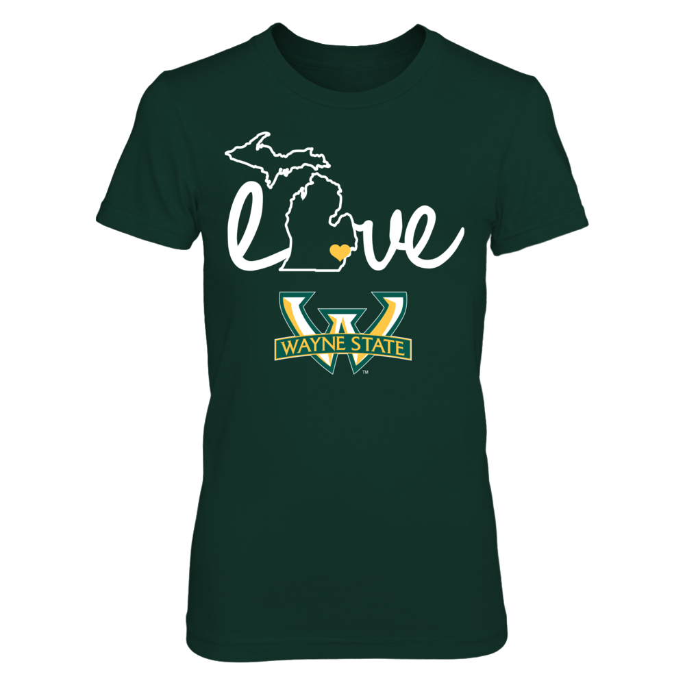 Wayne State Warriors Love With State Outline - Wayne State Warriors FanPrint