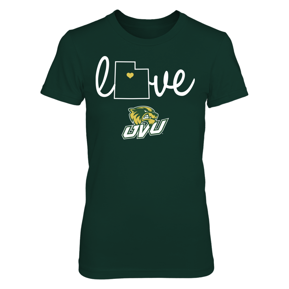 Utah Valley Wolverines Love With State Outline - Utah Valley Wolverines FanPrint