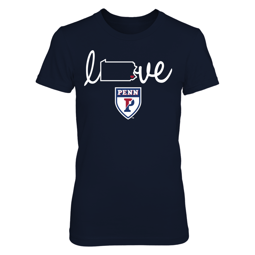 Love With State Outline - UPenn Quakers Front picture