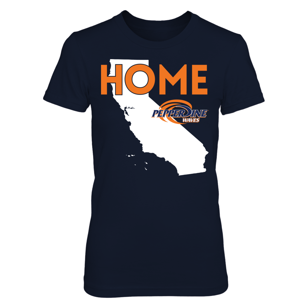Pepperdine Waves Home With State Outline - Pepperdine Waves FanPrint
