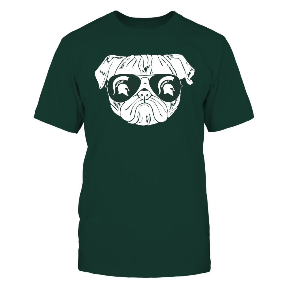 Michigan State Spartans - Pug With Logo Sunglasses Front picture