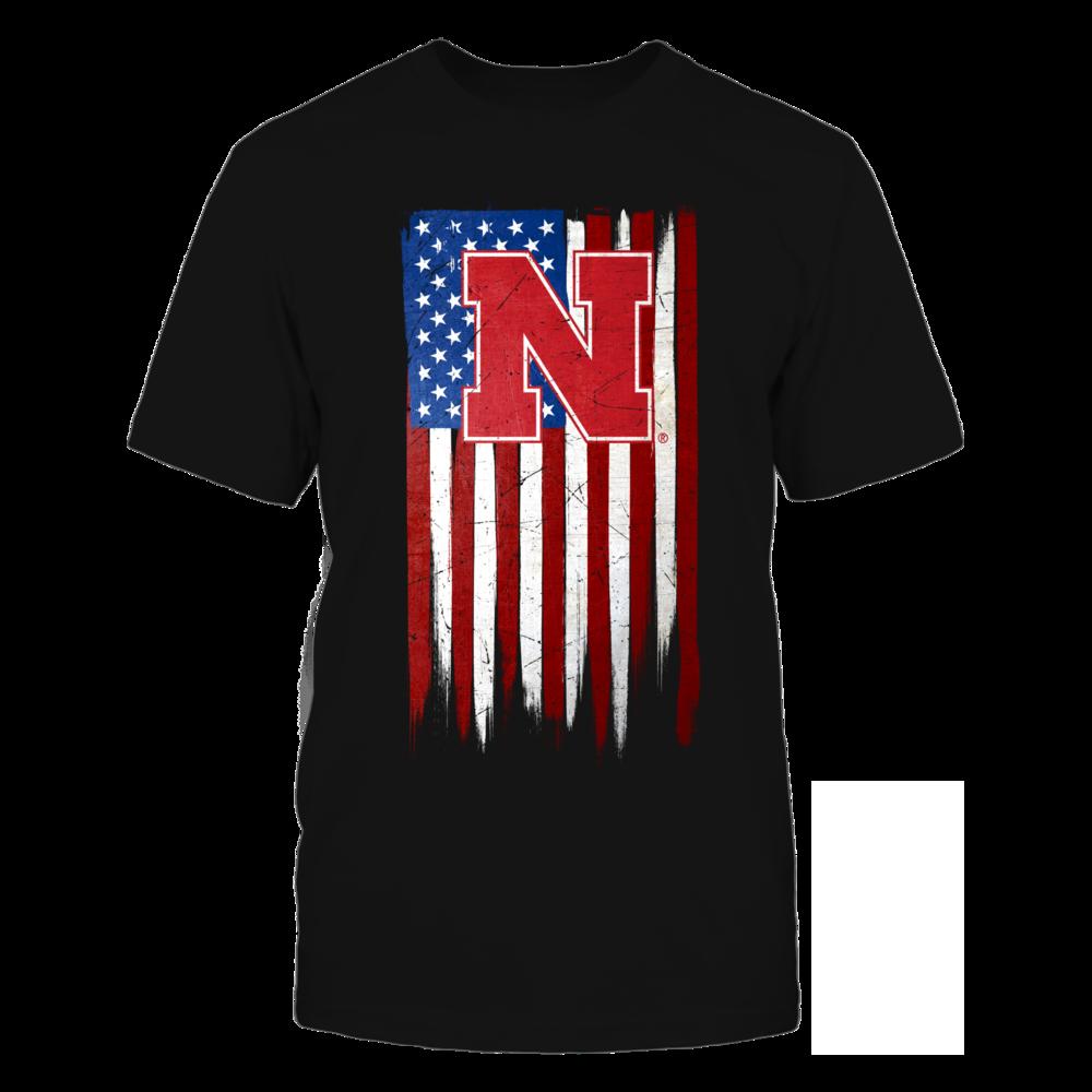 Grunge American Flag - Nebraska Cornhuskers Front picture