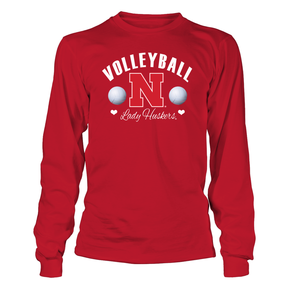 University Nebraska Volleyball - Officially Licensed Cornhusker Shirts for Women Front picture