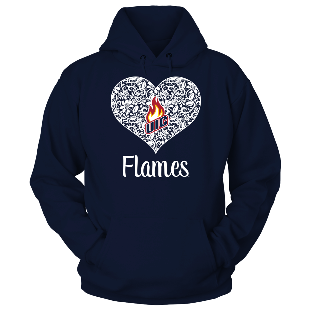 UIC Flames - Lace Heart Logo Front picture