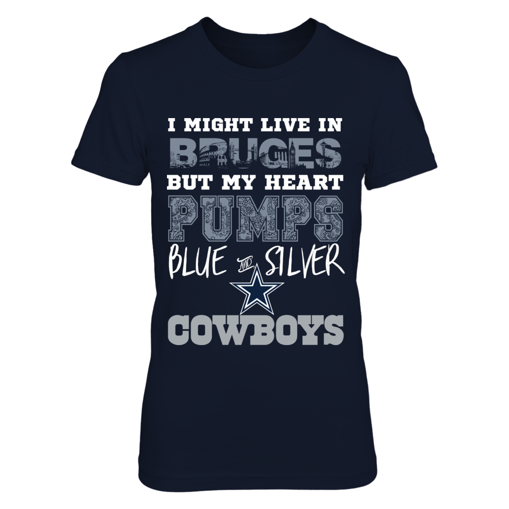 Dallas Cowboys My Heart Pumps Blue and Silver Bruges Shirt Front picture