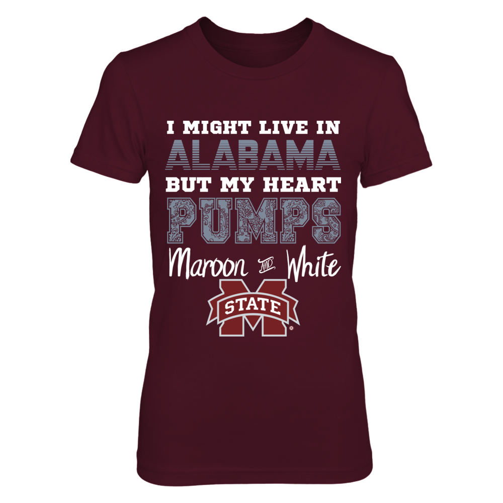 Mississippi State Bulldogs Mississippi State Alabama Heart Pumps Maroon and White Shirt FanPrint