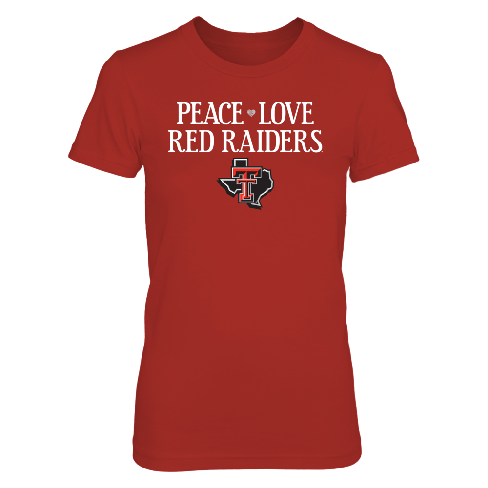 Peace. Love. Red Raiders. - Officially Licensed Texas Tech University T-Shirt / Hoodie / Tank Front picture
