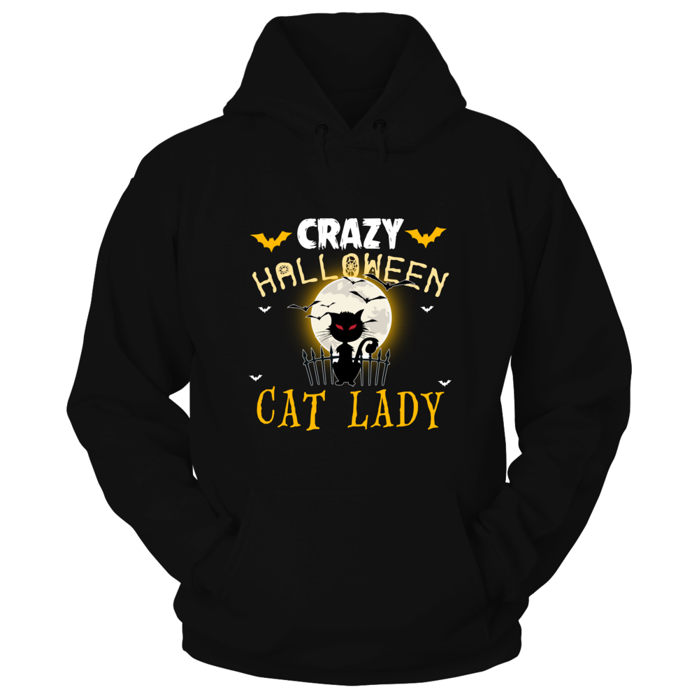 TShirt Hoodie Crazy Halloween Cat Lady T-Shirts for Cat Lovers and Witches FanPrint