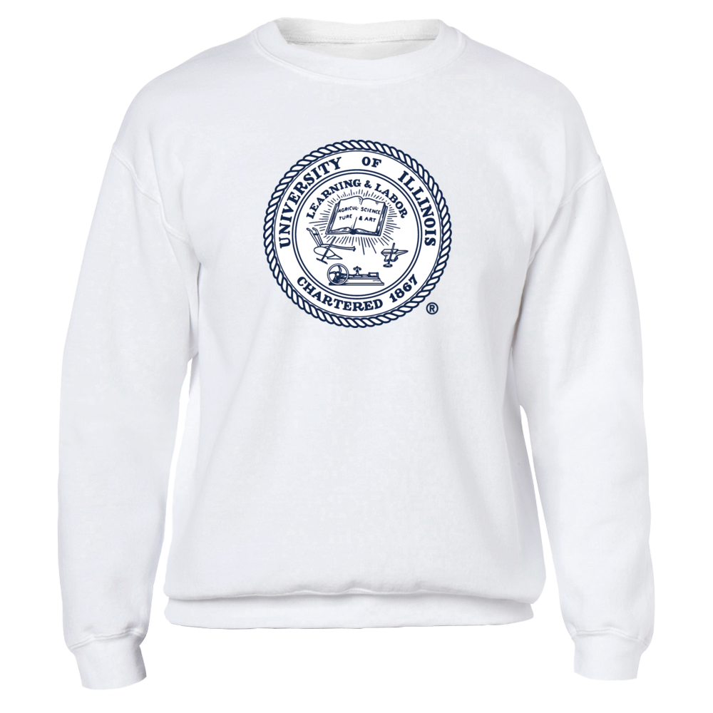 University of Illinois seal, large, on chest Front picture