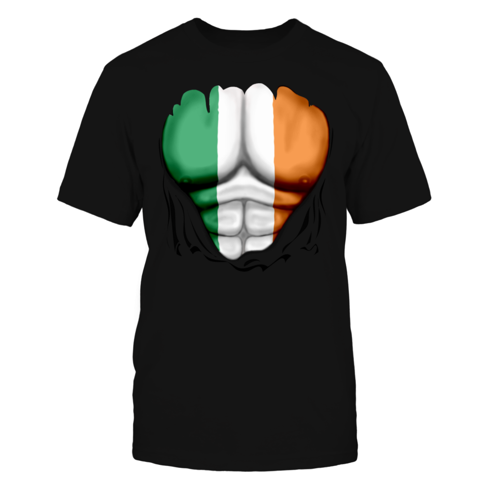 Ireland Flag Ripped Muscles, six pack, chest t-shirt T-Shirt Front picture