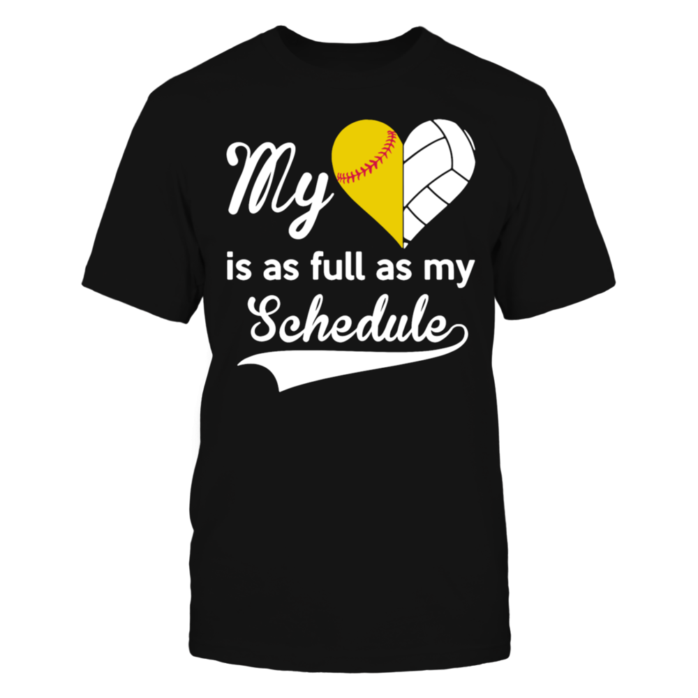 MY HEART IS AS FULL AS MY SCHEDULE BASEBALL shirt T-Shirt Front picture