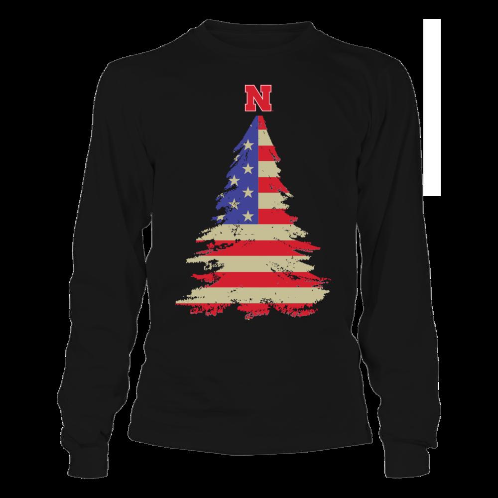 Nebraska Cornhuskers - Christmas American Flag Front picture