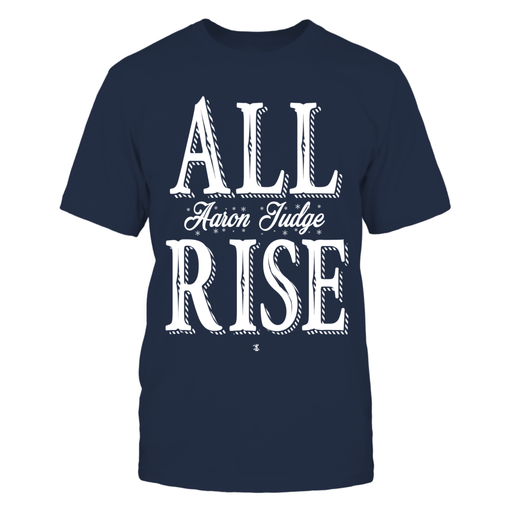 Aaron Judge ALL RISE Official Original Cool Casual Cute Top Trendy Christmas Holiday Snowflakes Christmas Edition Baseball Graphic T-shirt Front picture
