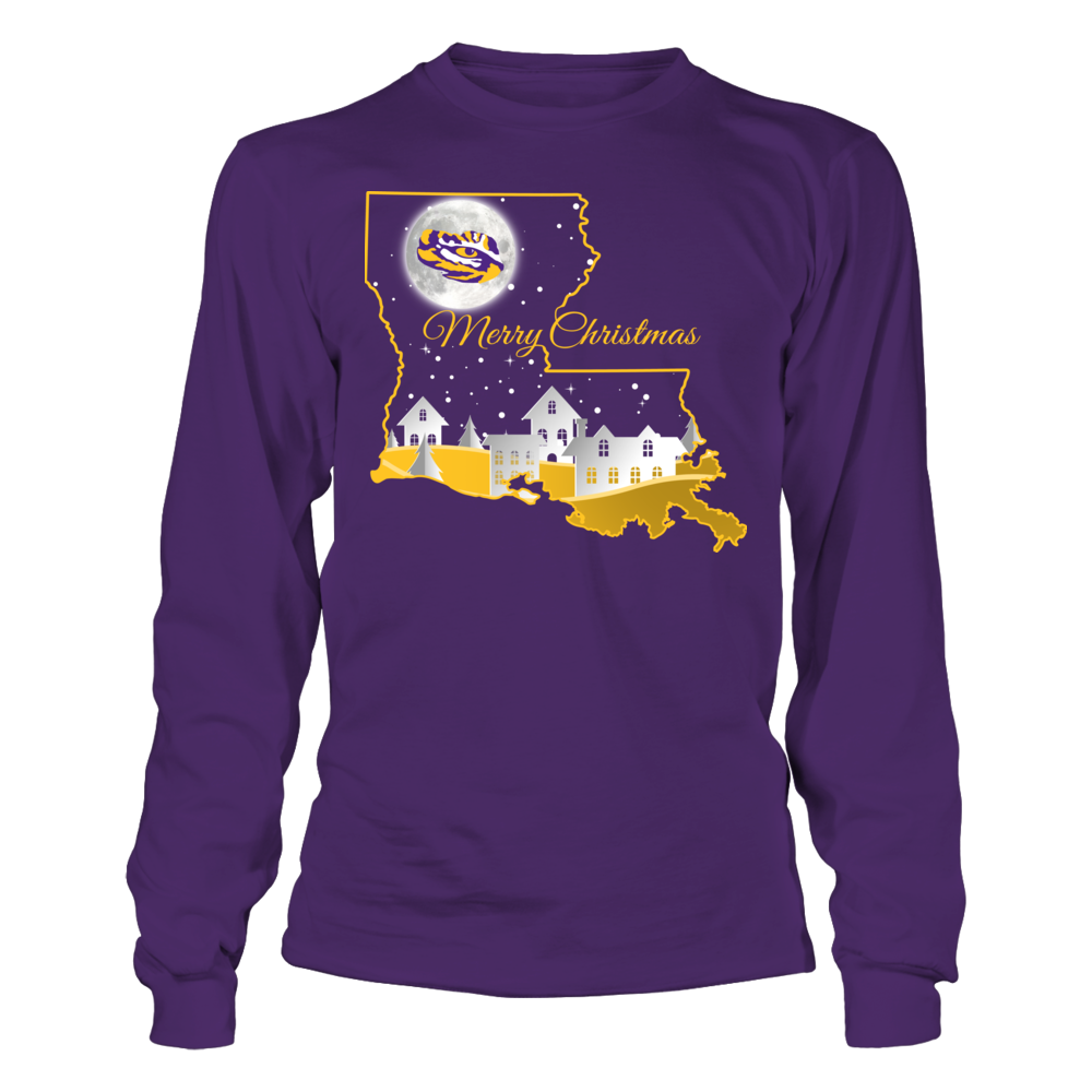 LSU Tigers - Christmas Night Inside State Map Front picture