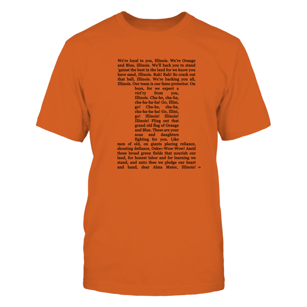 Illinois Loyalty: Lyrics T-shirt Front picture