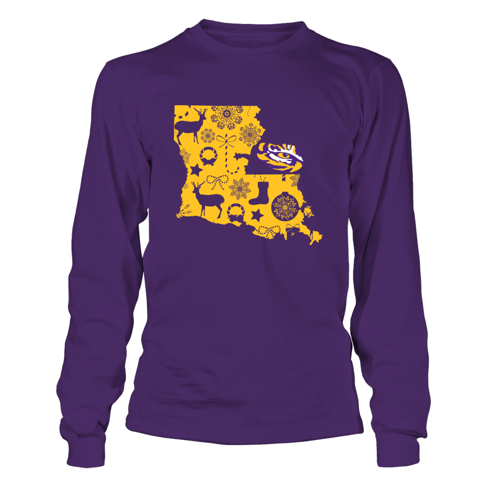 LSU Tigers - State Map Xmas Pattern Front picture