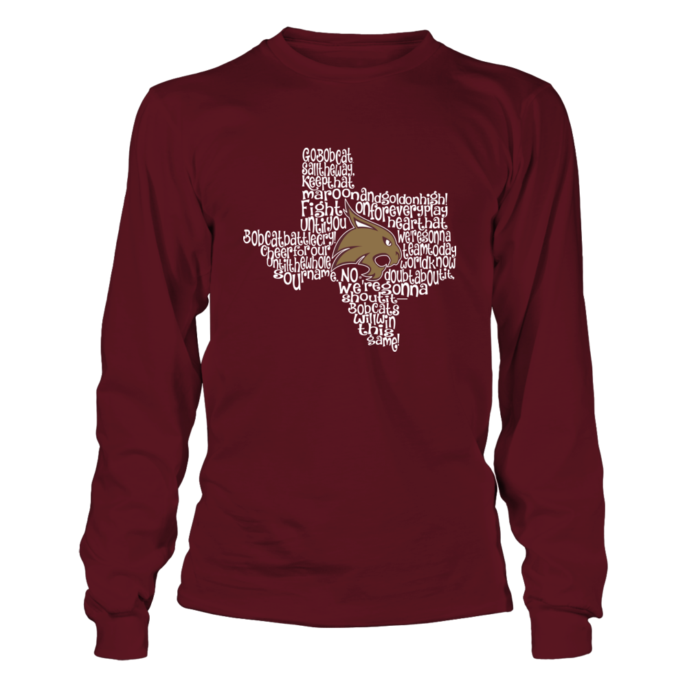Texas State Bobcats - Fight Song Inside State Map Front picture