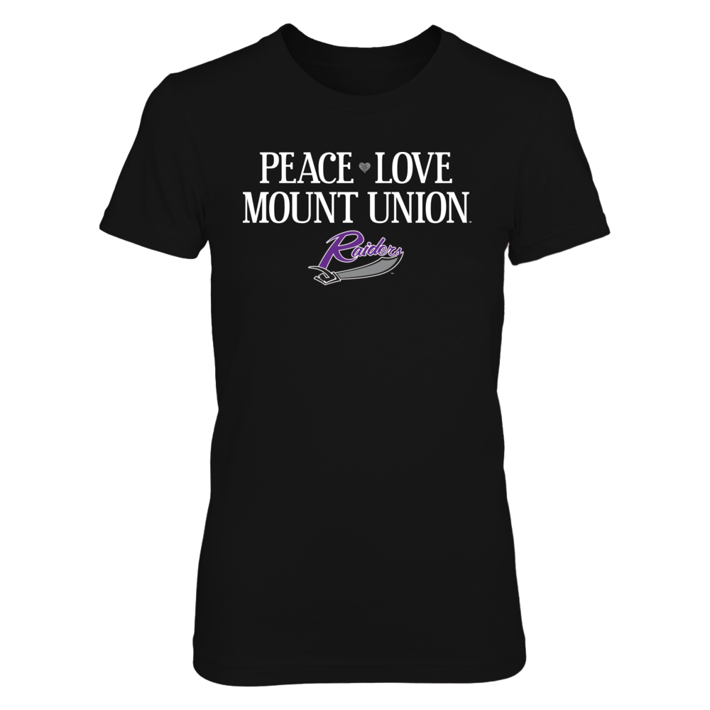 University of Mount Union Purple Raiders T-Shirt | Hoodie | Tank - Peace. Love. Mount Union. Front picture