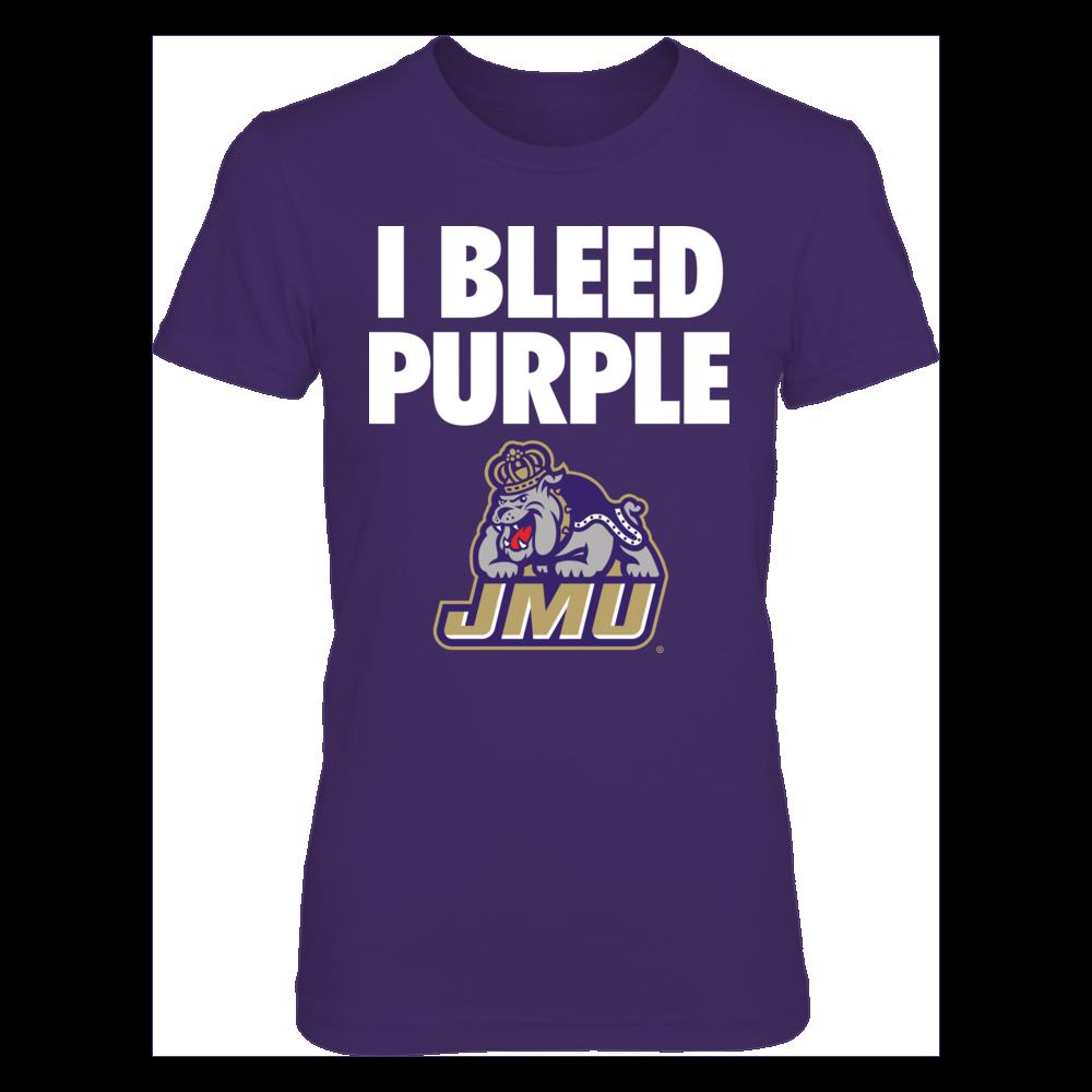 I Bleed Purple! JMU Dukes Fan Design.  Go Dukes! James Madison University Fan Gear Front picture